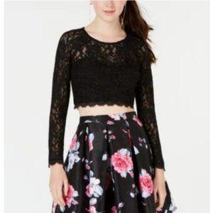 Sequin Hearts Black Sparkly Lace Crop Top